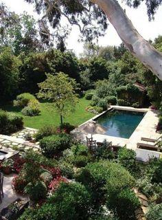 une piscine rectangulaire dans le jardin