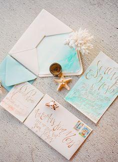 Blush & Aqua Soft Watercolor Wedding Invitation by ShannonKirsten