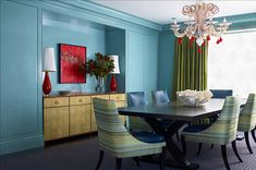 aqua walls with green and red accents
