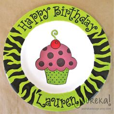 Large Ceramic Birthday Plate  10.5 Personalized by JeurekaDesign, $37.00