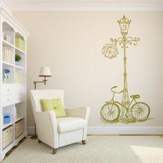 Vinilo decorativo con una bonita escena de una bicicleta vintage sobre una farola. Masquevinilo.com