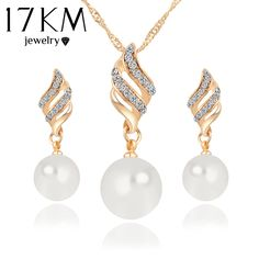 17KM Fashion Women Necklace Earrings Jewelry Sets Crystal Gold Color Big Simulated Pearl Wedding Party Jewelry Sets For Women ** Read more reviews of the product by visiting the link on the image.