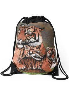 """Family of tigers"" Drawstring Bag by Savousepate on Redbubble #drawstringbag #backpack #bag #drawing #felines #cubs"