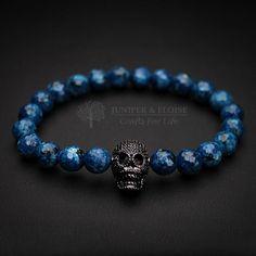 Skull Bracelet, Mens Blue Bracelet, Womens Bracelet, Gemstone Bracelet, Black Skull, Stretch Bracelet, Jewelry For Men by JuniperandEloise on Etsy