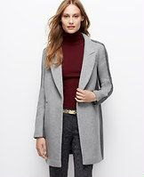 """Notch Collar Colorblock Coat - Colorblocked in noteworthy neutrals, this luxe wool blend coat is one of fall's perfect pieces in a clean, streamlined silhouette. Peak lapel. Long sleeves. Hidden faux double breasted button front. Forward shoulder seams. Front besom pockets. Lined front and side panels, unlined back. 35"""" long."""