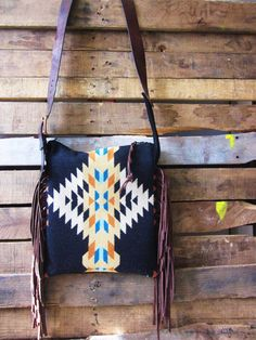 Black/ teal and cream wool purse with leather fringe/ Navajo print and leather purse/ boho bag