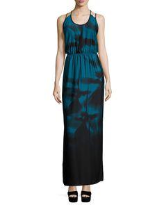 Sleeveless Strappy-Back Maxi Dress, Atlantic - Halston Heritage