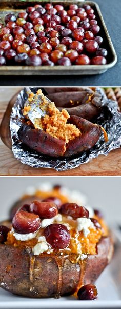 Roasted Grape, Goat Cheese and Honey Stuffed Sweet Potatoes