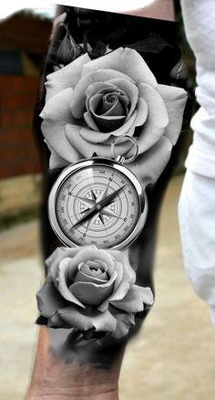 black and grey tattoos sleeve men roses - black and grey tattoos sleeve men roses - black and grey tattoos for men sleeve roses Pocket Watch Tattoo Design, Clock Tattoo Design, Floral Tattoo Design, Rose Drawing Tattoo, Tattoo Drawings, Black And Grey Tattoos For Men, Black Tattoos, Bussola Tattoo, Coroa Tattoo