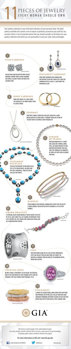 11 Essential Pieces of Jewelry every woman should have. http://4csblog.gia.edu/2014/jewelry-every-woman-should-own