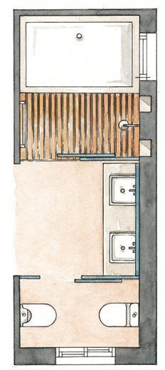 Modify this one 8x11 bathroom floor plan with double bowl - Banos con banera y ducha ...