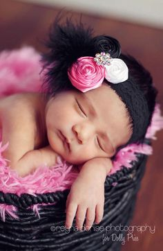 The LuLu - Baby Headband - Fascinator Headband - Baby Flower Headband - Photo Prop - Infant Headband - Head band. $19.49, via Etsy.