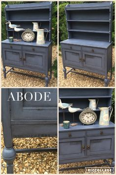 Edwardian dresser painted in Annie Sloan Old Violet and finished in clear and black wax. Available to buy from Abode Interiors Ludlow £239