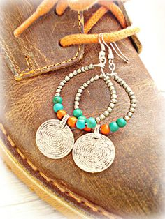 Boho Earrings - Boho Jewelry - Gypsy Earrings - Coin Earrings - Hippie Hoop…