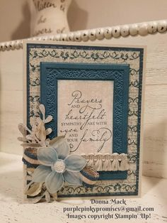The background on this card is stamped with the vintage images from Woven Heirlooms. Scrapbooking, Scrapbook Cards, Stampin Up Catalog, Embossed Cards, Stamping Up Cards, Get Well Cards, Sympathy Cards, Creative Cards, Flower Cards