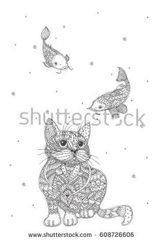Hand-drawn cat and fish with ethnic floral doodle pattern. Coloring page - zendala, design for spiritual relaxation for adults, vector illustration, isolated on a white background. Zen doodles.