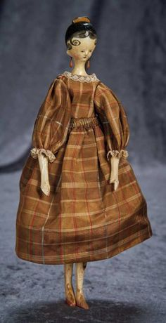 Grodnertal Wooden Doll with Yellow Tuck Comb 800/1100 Auctions Online   Proxibid