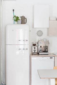 Via My Unfinished Home | White Minimal Nordic Kitchen | Smeg
