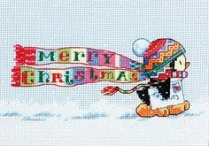 Dimensions Christmas Penguin Counted Cross Stitch Kit Design by Gill Cooper Design Size approx. x x Kit includes pre-sorted thread, 14 count Light Blue aida, needle and instructions. Cross Stitching, Cross Stitch Embroidery, Embroidery Patterns, Cross Stitch Designs, Cross Stitch Patterns, Loom Patterns, Dimensions Cross Stitch, Cross Stitch Stocking, Xmas Cross Stitch