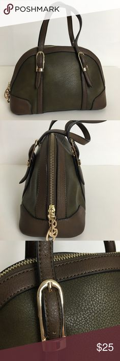"""Simply Noelle handbag Simply Noelle dome handbag. Adjustable straps. Zipped inside pocket, two open pockets.  Zip closure. Never used, bought straight from warehouse. Olive green & brown. 11"""" across. 7"""" deep. 4"""" strap drop with center hole. Simply Noelle Bags"""