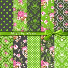 "Neon green digital paper : ""LIMETA""  green and grey digital paper with pink roses, shabby chic digital paper, decoupage paper, pink roses by HajDesignPapers on Etsy https://www.etsy.com/listing/166252259/neon-green-digital-paper-limeta-green"