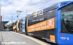 Rotulación Tranvía Orange. Contacta con nosotros en el 922 646 824 o vía email a mailto:comercial@... #rotulacion #vehiculo #tranvia #publiservic Tenerife, Train, Canary Islands, Advertising, Teneriffe, Strollers