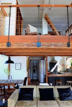 garde corps mezzanine, salon avec mezzanine, appartement loft