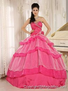 Hot Pink Sweetheart Beaded Decorate and Ruch Bodice Ruffled Layeres Rosario Quinceanera Dress In 2013