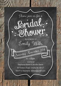 Chalkboard Bridal Shower Invitation - Customized