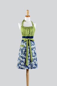 Cute Kitsch - Dogwood Floral Navy and Green