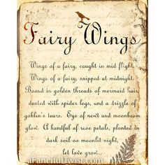 Fairy Wings Spell - 8 x 10 Print. $12.00, via Etsy. AFancifulTwist