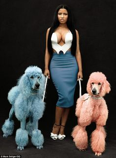 Nice poodles: And Nicki Minaj looked pretty good, too, in what she described as a more 'natural' look in a fashion shoot for GQ magazine