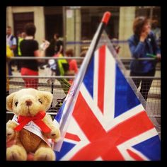 #KaplanBear at the #OlympicTorch #relay in #Sheffield with Barbara, a staff member at #SheffieldInternationalCollege. #olympics #studyuk, via Flickr.