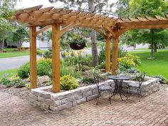 Front Yard Patio, Entry L Shaped Pergola and Chilton Stone Raised Planter on Salt Box Home | Flickr - Photo Sharing!
