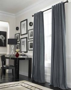 Elegant Curtain Ideas for Large Windows Designing Interior Perfectly: Cool Grey Curtain Ideas For Large Windows Modern Home Office Table Located Nearby Workspace In Luxurious House Design Interior ~ CLAFFISICA Furniture Inspiration Black Curtains, Curtains With Blinds, Modern Curtains, Window Curtains, Contemporary Curtains, Elegant Curtains, Long Curtains, Drapery Panels, Curtains To Match Grey Walls