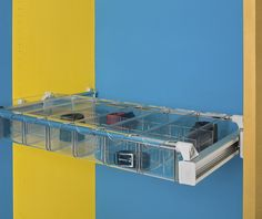 A truly innovative option for drawer-like storage, ideally suited for wardrobes. Pull out frame adjusts for spaces from 750mm to 1150mm wide, plus tough polycarbonate boxes that slot onto the frame. Contents are easily visible in these clear boxes that come in three sizes. Shown here - size of the three-space boxes, ideal for accessories, watches, jewellery, socks etc. Can mount under shelves or rails, using otherwise dead space. Order frame and the boxes you want, or one of our complete…