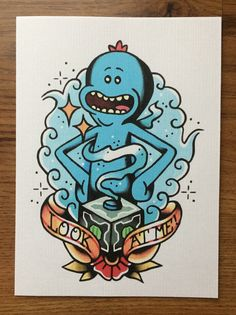 Rick and morty - Mr meseeks look at me! Cartoon Tattoos, Anime Tattoos, Body Art Tattoos, Rick And Morty Drawing, Rick And Morty Tattoo, Pickle Rick Tattoo, Rick And Morty Stickers, Mister Meeseeks, Ricky And Morty