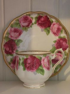 Royal Albert Old English Rose tea cup and by CynthiasCottageShop