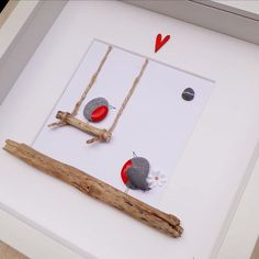 Wedding gift Robin pebble picture Robins on a swing Proposal Picture Framed pebble art Valentines Day Birthday gift Engagement gift Valentines Day Birthday, Valentines Day Gifts For Him, Birthday Gifts, Art Birthday, Robins, Stone Crafts, Rock Crafts, Diy Gifts, Unique Gifts