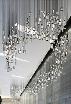 inspiration for you Mirrors Suspension Lighting Ideas - decor inspirations // Unique and iconic lamps interiors architecture interior design art sorsluxe mirrors Vitrine Design, Instalation Art, Plafond Design, Hanging Photos, Hanging Art, Hanging Mirrors, Mirror Art, Mirror Ideas, Grey Mirrors