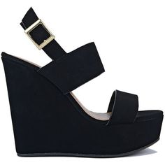 Comfy and Sexy Wedge Sandals ($20) ❤ liked on Polyvore featuring shoes, sandals, high heel wedge sandals, strappy sandals, black sandals, black strappy sandals and black high heel sandals