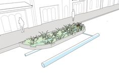 Bioswales explained and illustrated in the NATCO Urban Street Design Guide. Click on image for details, and visit the Slow Ottawa 'Streets for Everyone' Pinterest board for more of these superb illustrations.