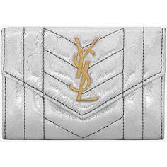 Saint Laurent Small Monogram Saint Laurent Envelope Wallet ($405) ❤ liked on Polyvore featuring bags, wallets, stitch wallet, monogrammed bags, vertical wallet, vertical bag and monogrammed wallet