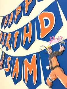 Celebrate in style with this beautiful Naruto Birthday Banner Each letter measures about 5x6in, banners are strung with extra ribbon at the ends to hang. - Letters are popped out to give a 3D effect - 2 Separate banners (Happy) (Birthday) unless noted otherwise - All Banners with names will be 3 separate pieces unless noted otherwise - All of our items are handcrafted in out pet free and smoke free home. WHEN PURCHASING PLEASE LEAVE THE FOLLOWING IN THE NOTES SECTION 1. Name (1 name ONLY... Naruto Birthday, Daddy Birthday, 9th Birthday, Birthday Parties, Naruto Party Ideas, Happy Birthday Banners, Sasuke, Goku, Party Time