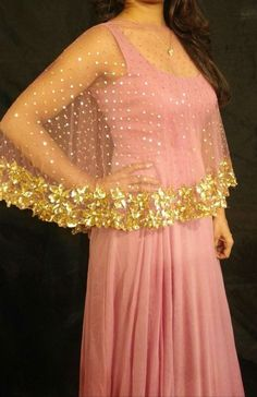 Cape styles for one piece – Hot Models Pakistani Dresses, Indian Dresses, Indian Outfits, Chiffon Evening Dresses, Evening Gowns, Cape Dress, Party Wear Dresses, One Piece Dress, Blouse Designs