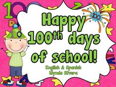 This download includes the following activities in English & Spanish, perfect for your 100th day of school celebration:-100 years old Craftivity -ABC order activityIf I were 100 years old I would write/draw activity100 Days of School Mini BookletI can write a 100 words paper templateI can count to a 100Tags for a 100th day of school necklace100 candies for the 100th day of school Craft100 Days Mini Certificates100 Days Letters for a BannerHave fun!Mynda