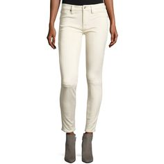 7 For All Mankind Knee-Seam Sueded Skinny Jeans ($210) ❤ liked on Polyvore featuring jeans, open white, zipper skinny jeans, button-fly jeans, zipper jeans, fitted jeans and super skinny jeans