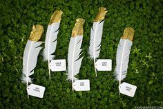 Woodsy gold + feather wedding ideas by Kaysha Weiner Photographer & Pure Lavish Events.