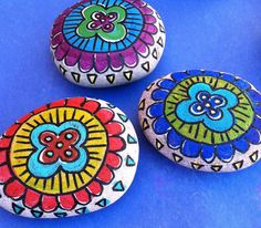 Flower Mandala Painted Stone