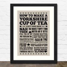 Yorkshire Cup of Tea A4 Typographic Art Print